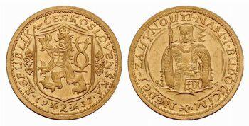 První Československé zlaté mince. Dochovalo se pouze 8 kusů.