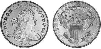 Stříbrný dolar 1804, jedna z nejcennějších amerických mincí.