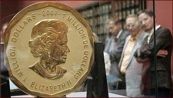 Kanadská zlatá mince (100 kg ryzího zlata) s nominální cenou 1 milión kanadských dolarů