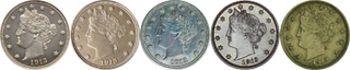Existuje celkem 5 mincí americký pěticent 1913