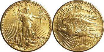 Double Eagle - zlatý dvacetidolar (rub a líc)